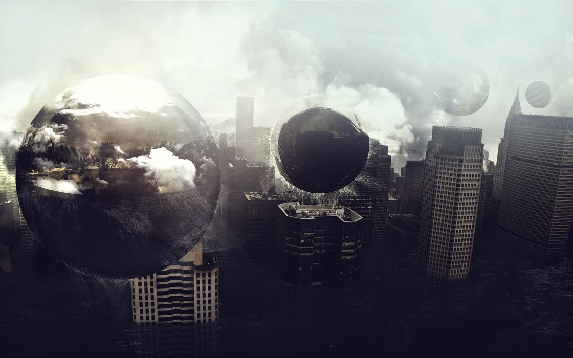Digital art photomanipulations cities wallpaper