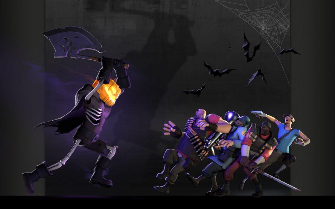 Heavy tf2 halloween scout tf2 demoman tf2 team fortress 2 jack o lantern bats spider webs soldier tf2 wallpaper