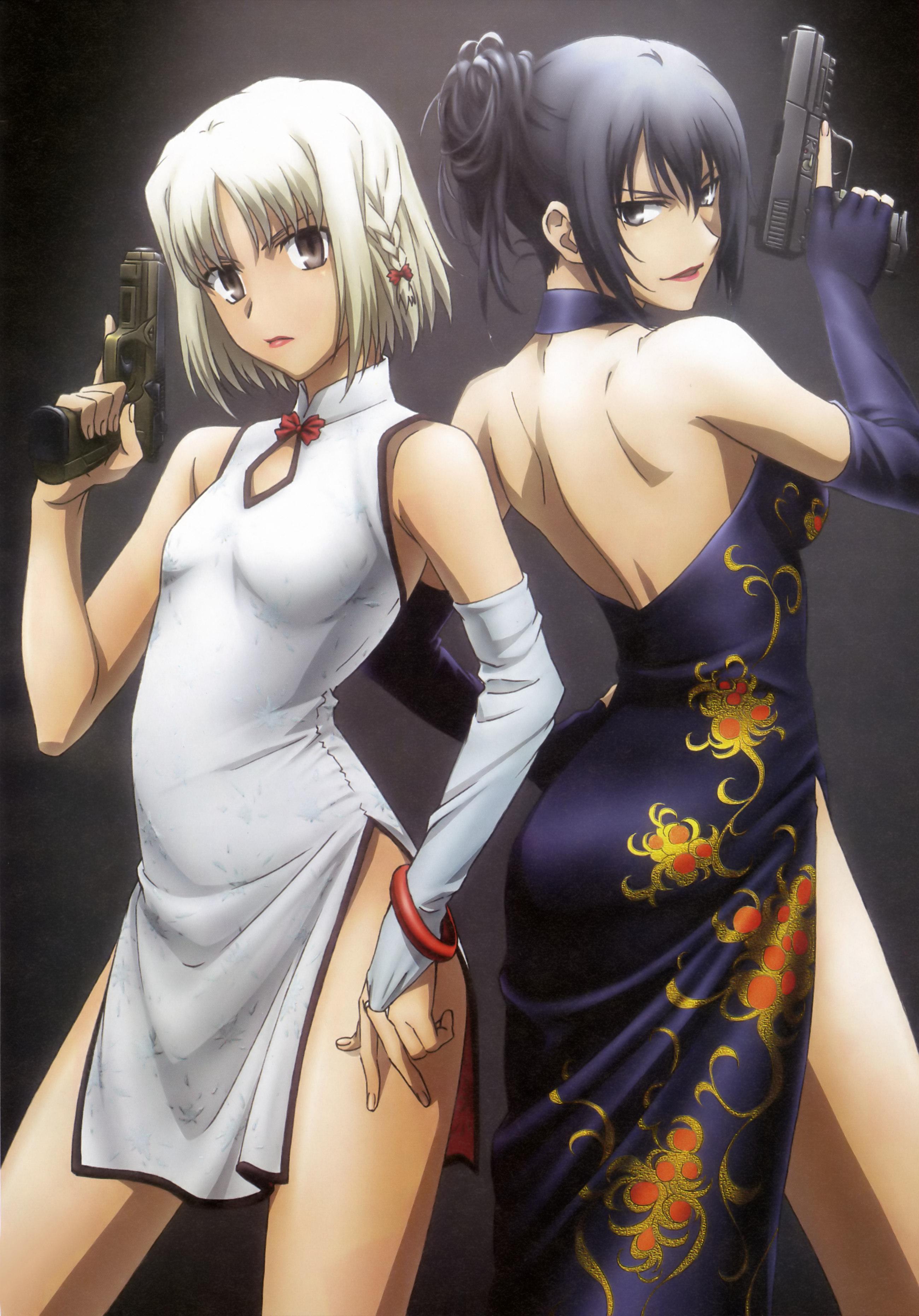 Brunettes girls with guns canaan handguns anime girls ...