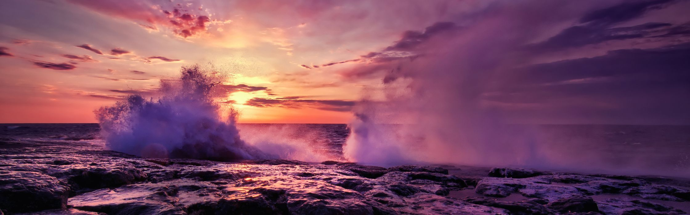 Water ocean clouds nature sun waves dusk multiscreen skyscapes wallpaper