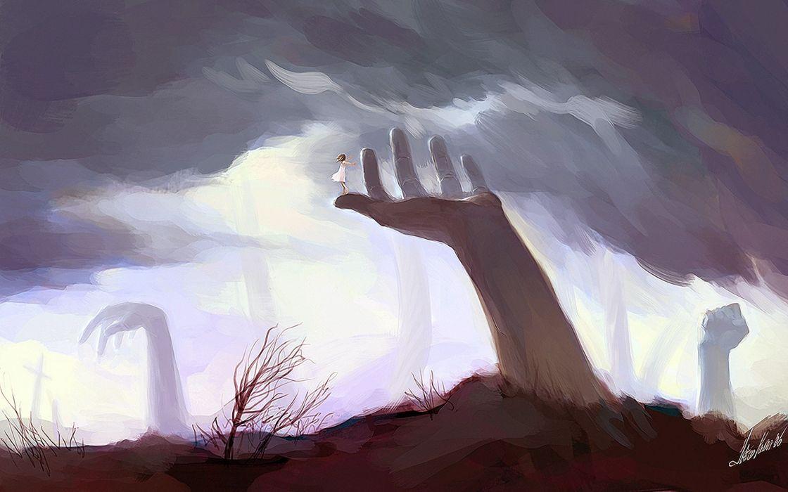 Hands artwork wallpaper