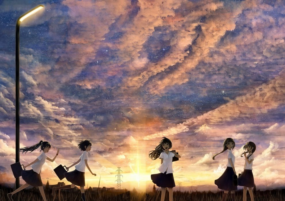 Sunset clouds landscapes uniforms stars school uniforms black eyes thigh highs scenic anime bags anime girls cloud black hair lampard wallpaper