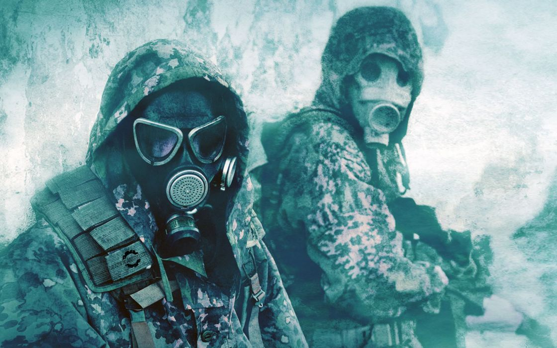 Military gas masks camouflage wallpaper
