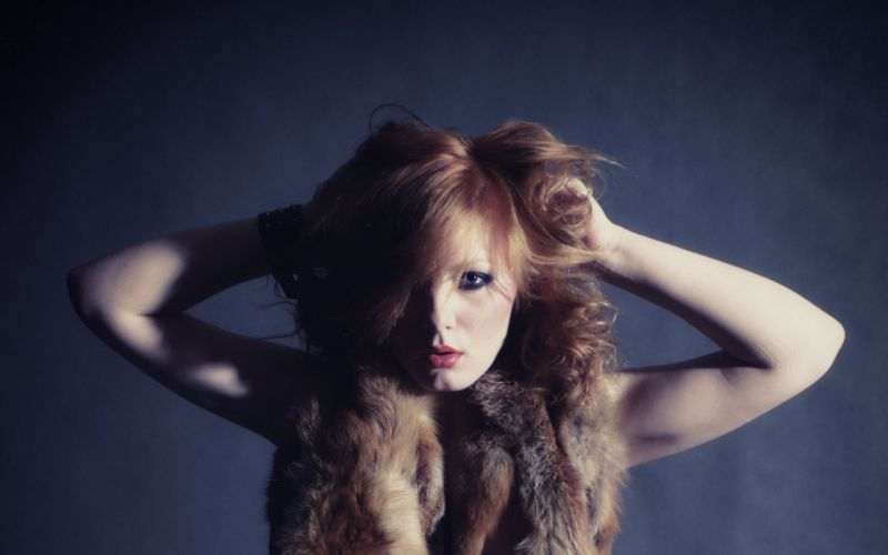 Women redheads models fur blue background arms raised patty the life erotic magazine wallpaper