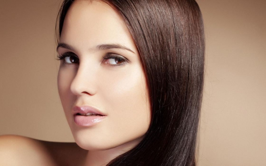 Brunettes women models brown eyes faces wallpaper