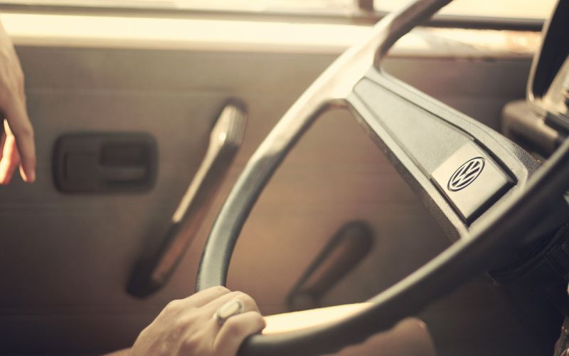 Transporter volkswagen steering wheel driver retro art retro cars coolness florent cailliez wallpaper