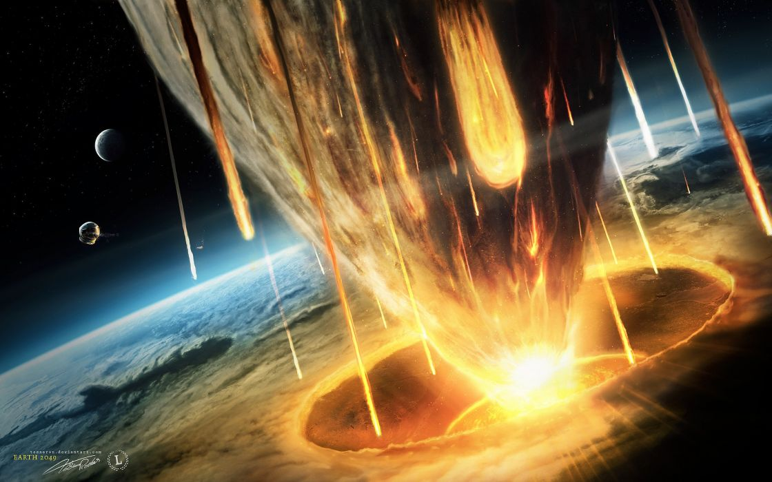 Outer space planets earth impact wallpaper