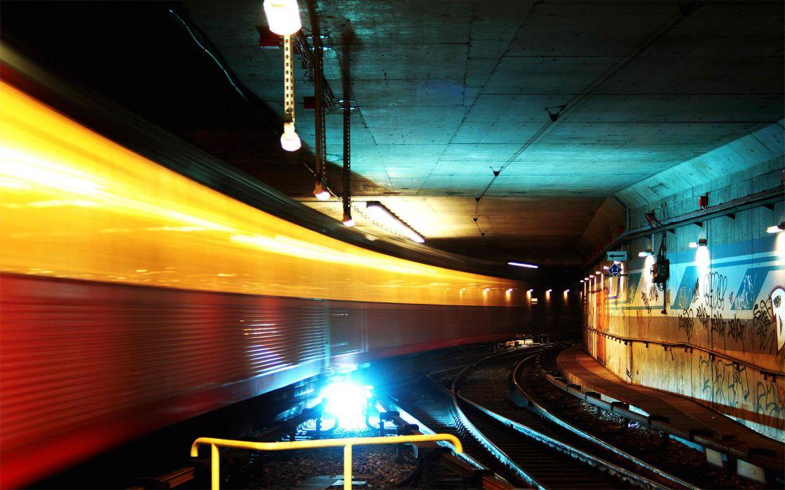 Subway tunnel railroad tracks long exposure wallpaper