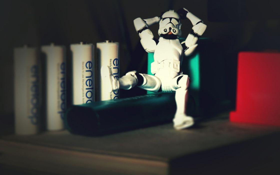 Stormtroopers battery action figures wallpaper