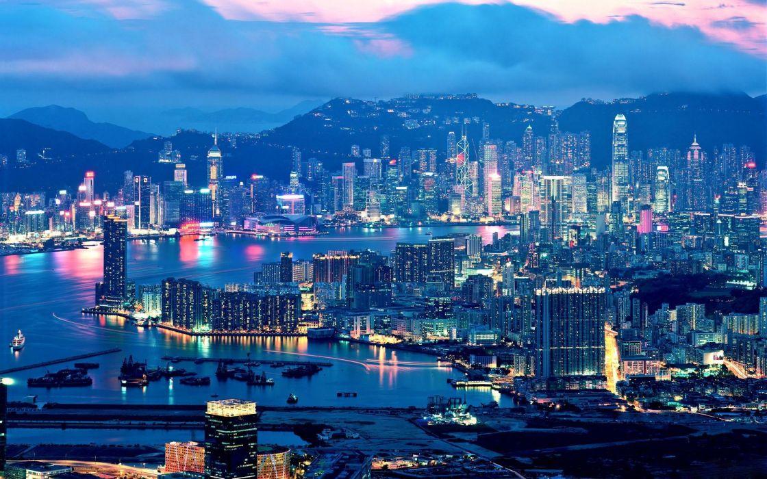 Landscapes night lights china hong kong cities wallpaper
