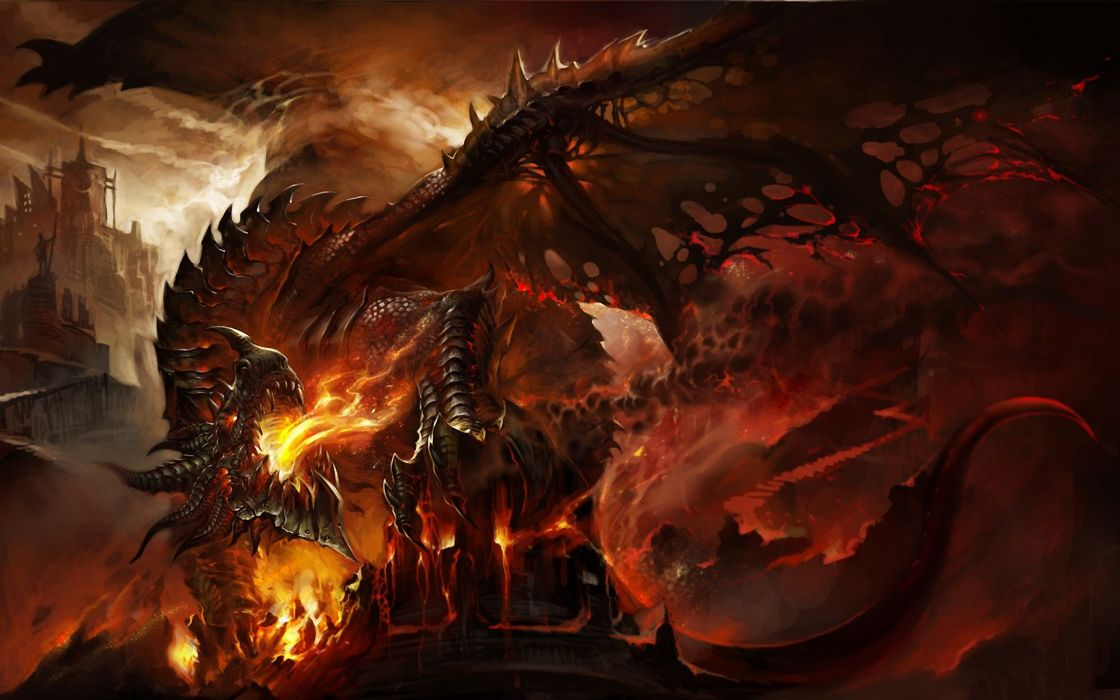 Abstract dragons fire fantasy art deathwing artwork world of warcraft cataclysm wallpaper