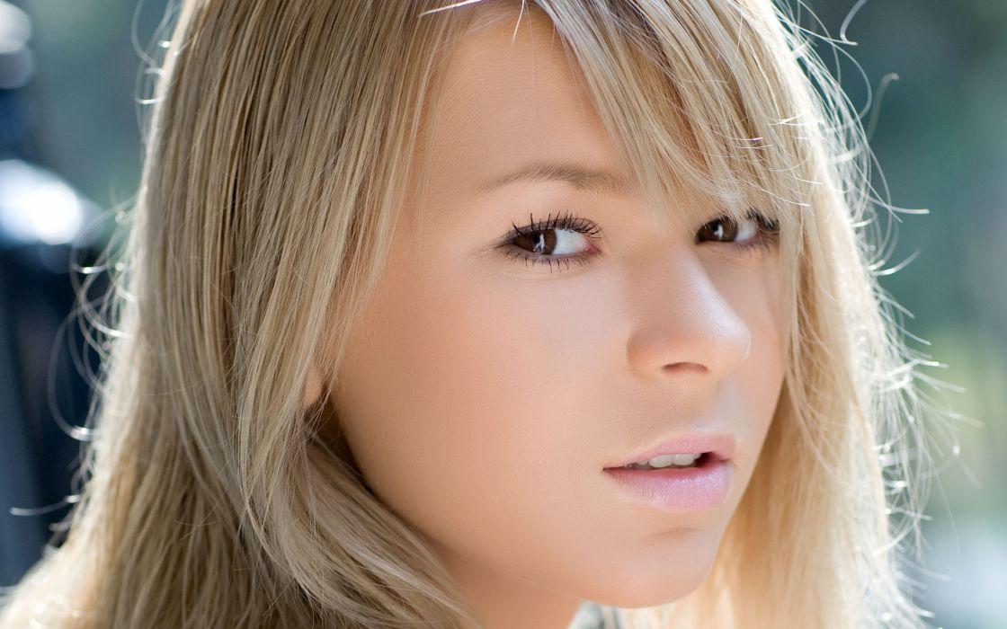 Blondes women brown eyes faces wallpaper