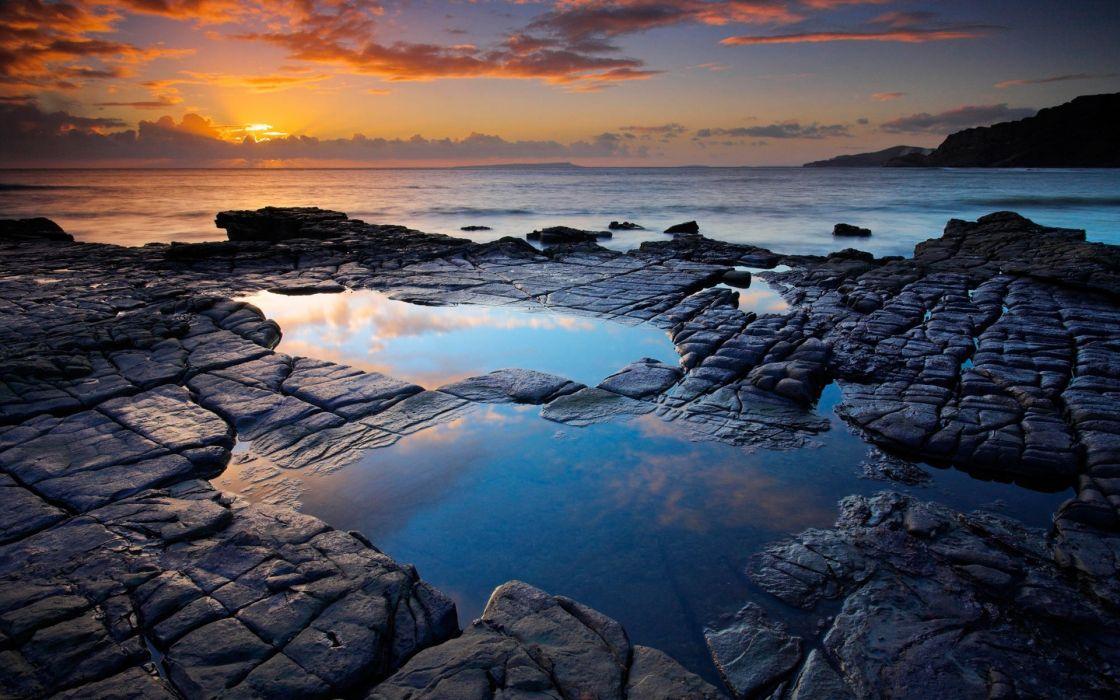 Water seas rocks wallpaper