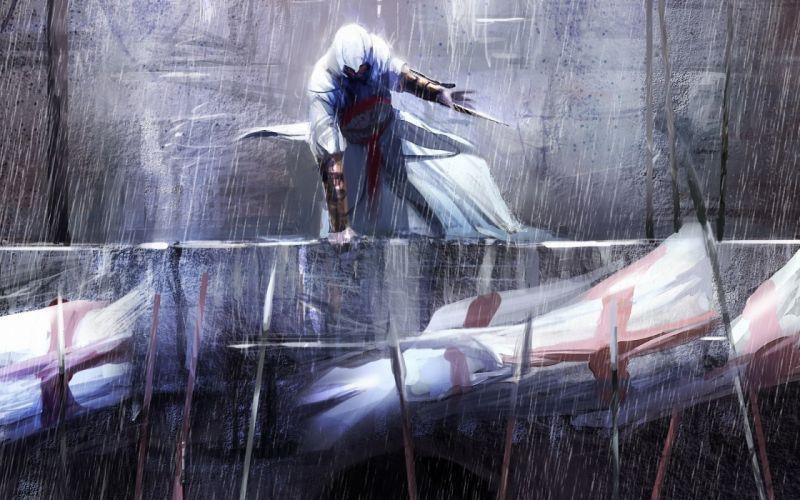 Video games assassins creed altair assassins rain flags fantasy art artwork templar hidden blade altair ibn la ahad video game art wallpaper