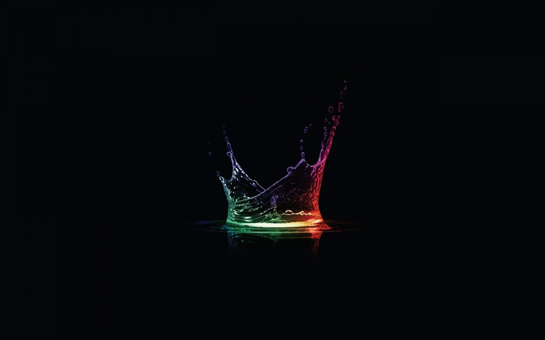 Abstract multicolor drop black background splashes wallpaper