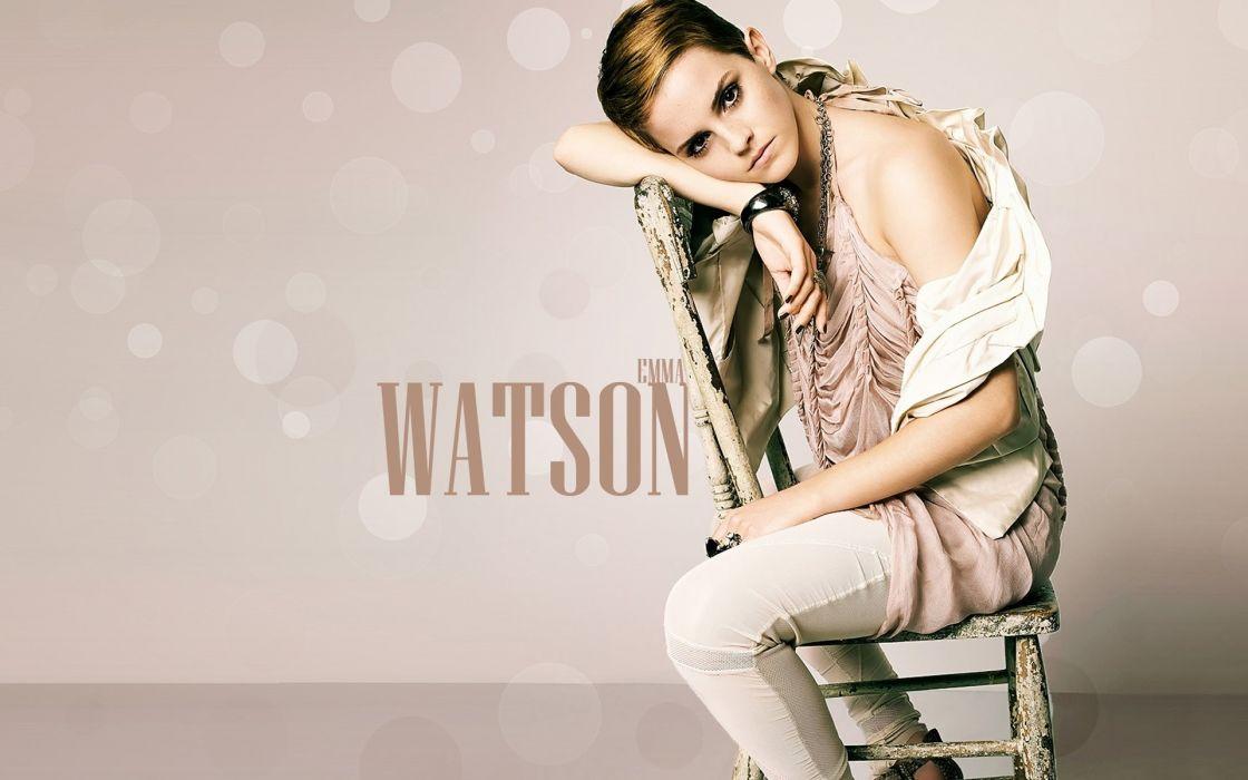 Blondes women emma watson thinking chairs sitting wallpaper