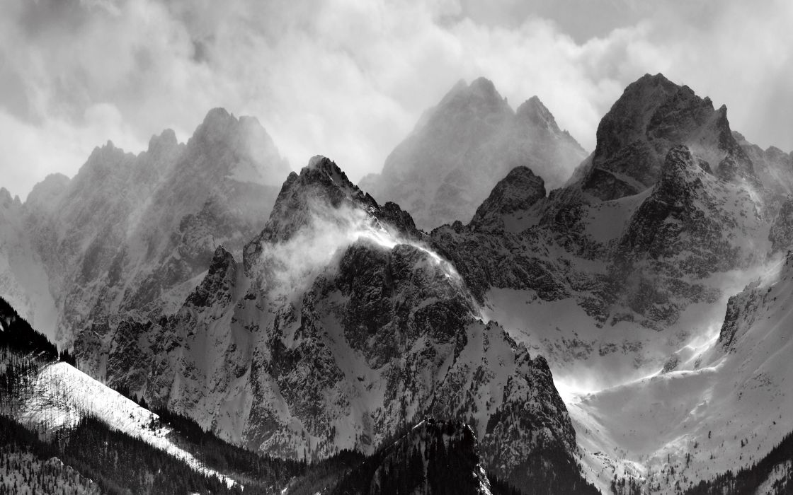 Mountains clouds glacier grayscale monochrome wallpaper