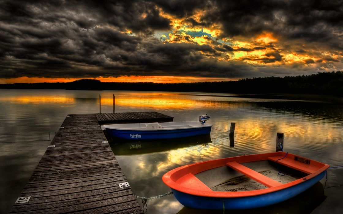 Sunset landscapes nature ships pier hdr photography wallpaper