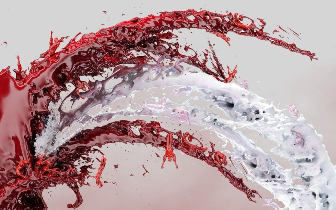 Abstract paint figurines wallpaper