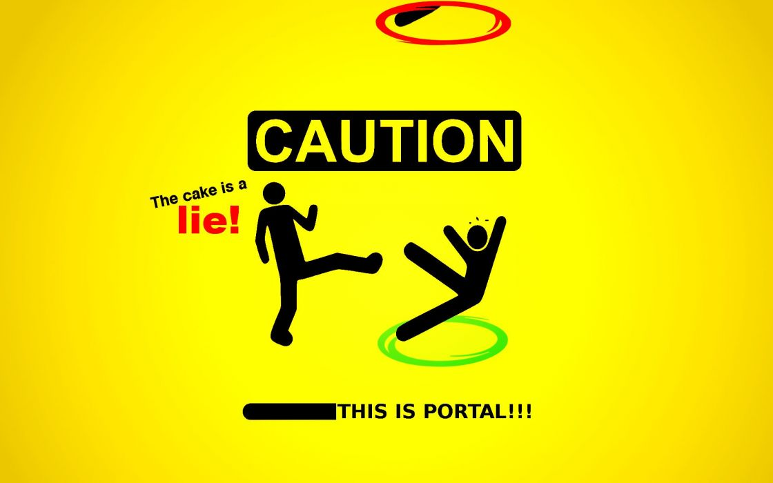 Portal sparta caution portal 2 the cake is a lie wallpaper