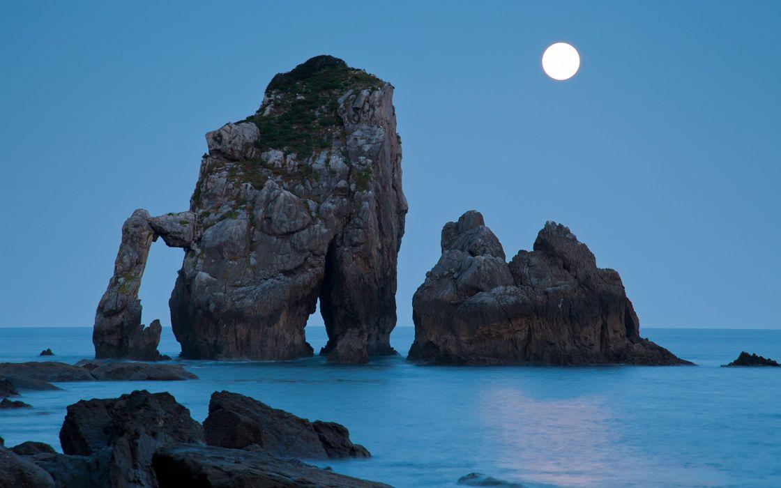 Ocean landscapes night moon rocks moonlight wallpaper