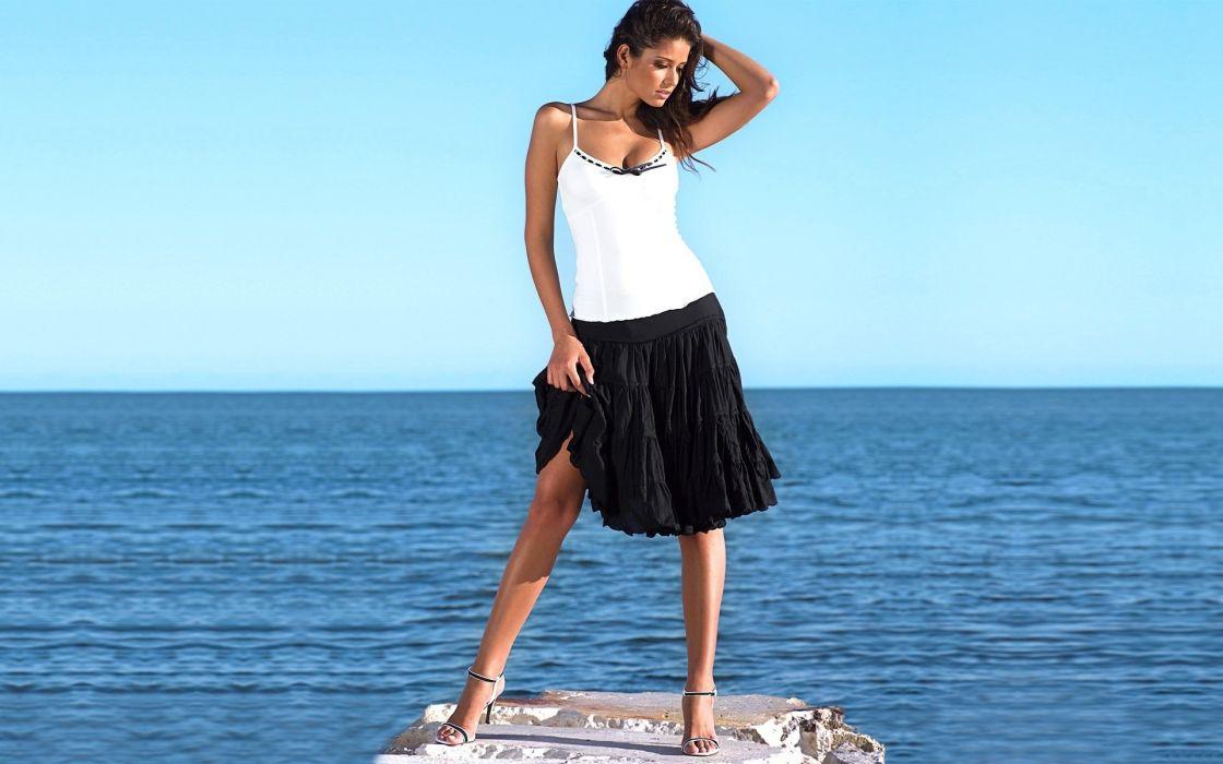 Brunettes women beach models carla ossa wallpaper