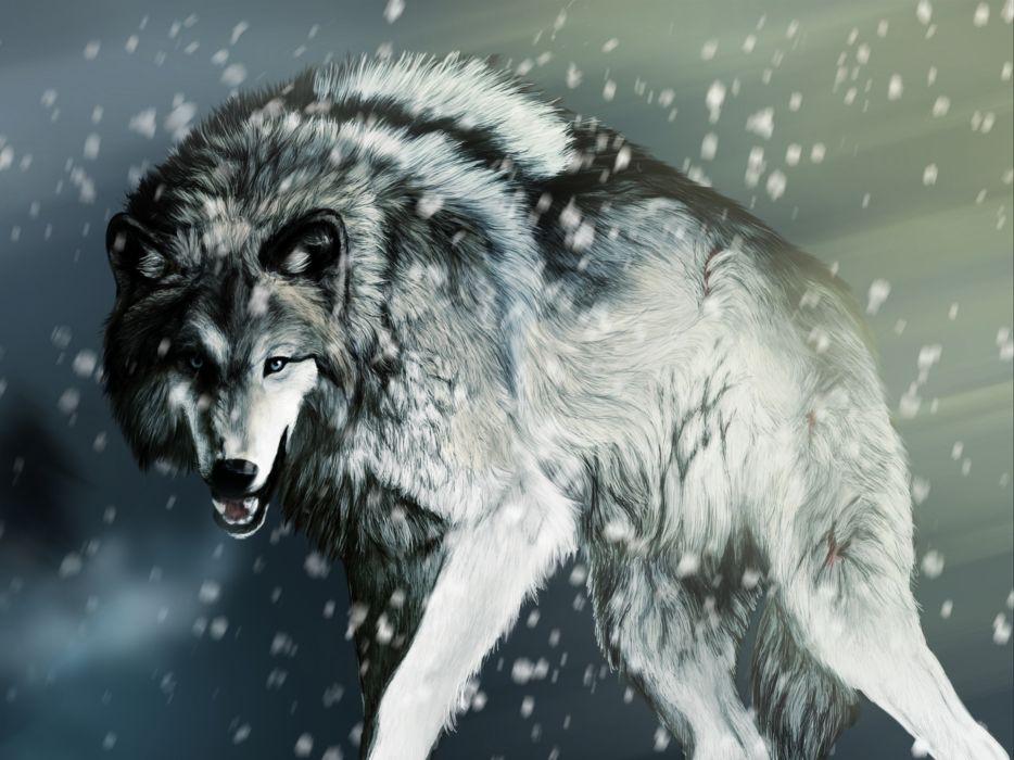 Artwork wolves wallpaper