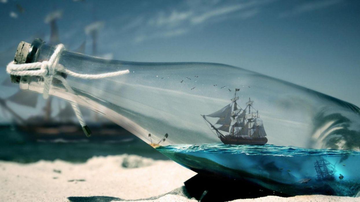 ship bottle wallpaper