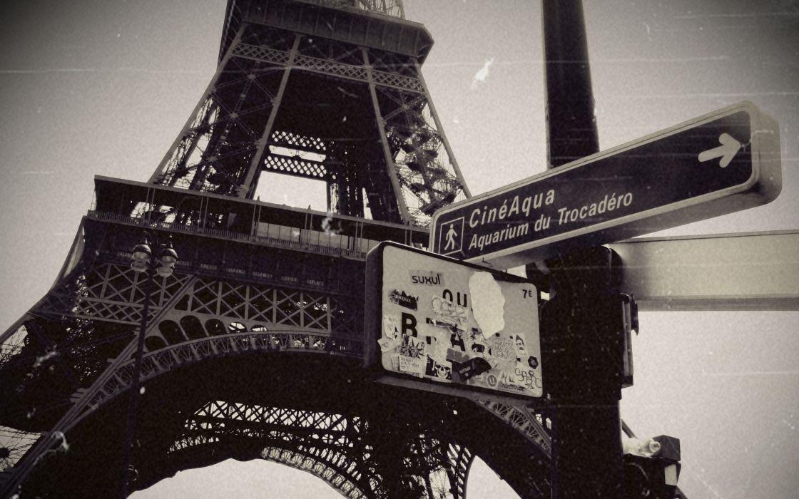 Eiffel tower paris cityscapes monochrome wallpaper