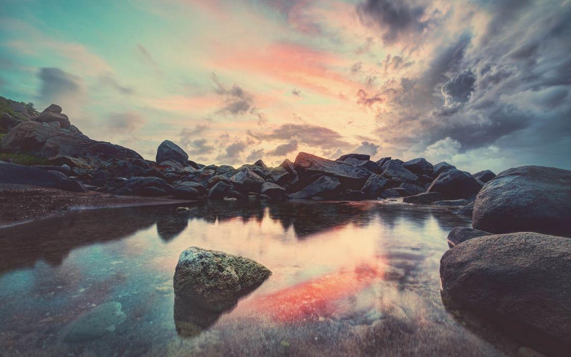 Sunrise rocks seascapes wallpaper