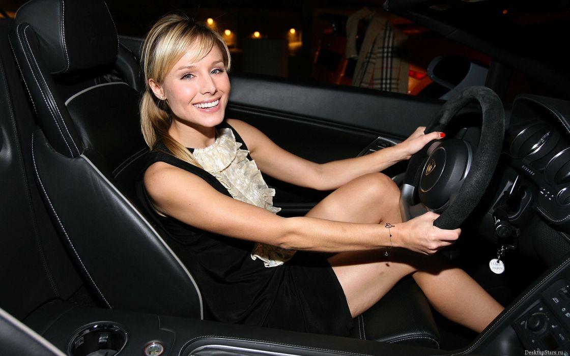 Blondes women kristen bell cars actress lamborghini car interiors wallpaper