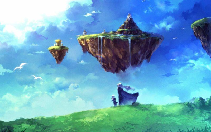 Fantasy art temples artwork floating island scene wallpaper