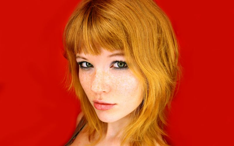 Women redheads freckles green eyes simple background faces red background wallpaper