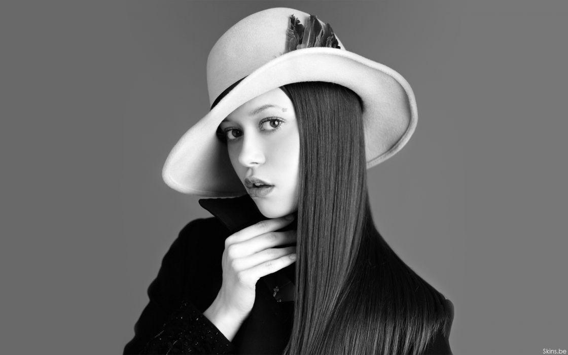 Women summer glau monochrome hats greyscale wallpaper