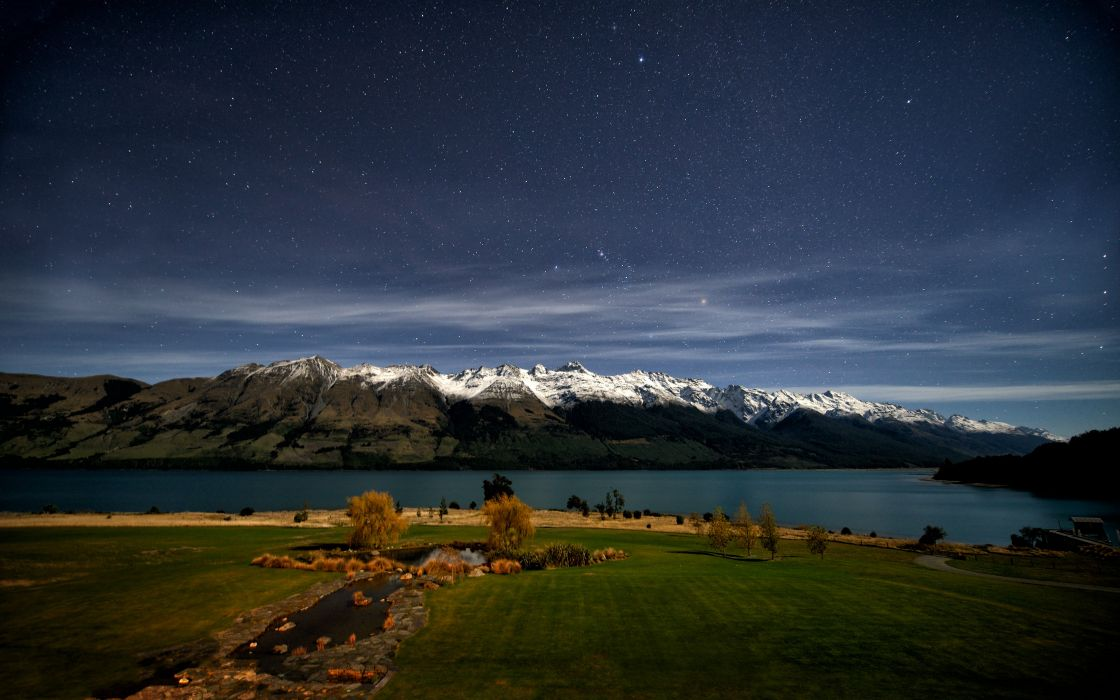 Mountains landscapes nature snow night stars fields new zealand lakes skyscapes wallpaper