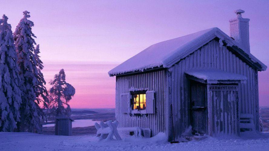 Winter (season) snow trees sweden moonlight cabin wallpaper
