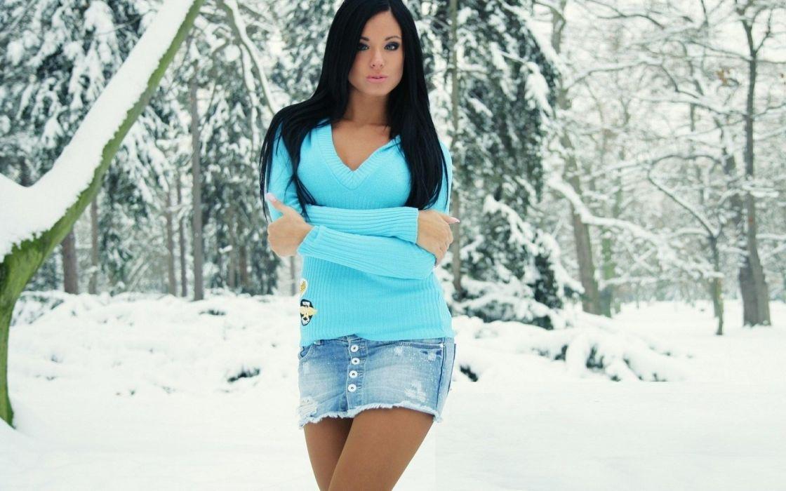 Brunettes women snow models outdoors moscow ashley bulgari miniskirts winter landscapes wallpaper