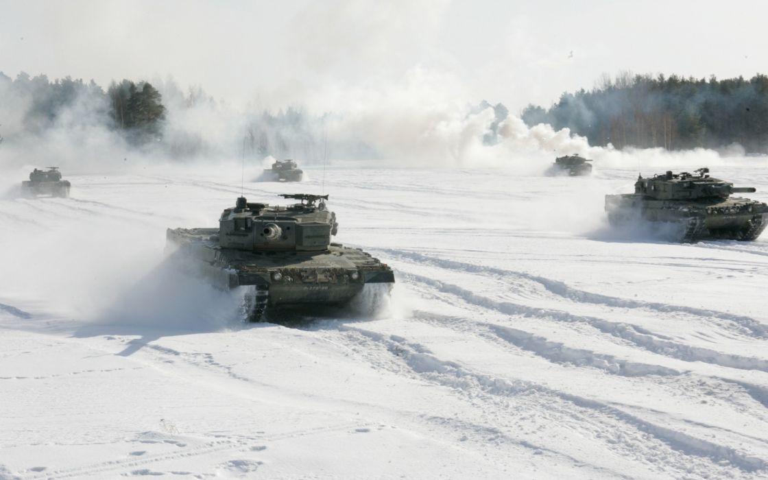 Snow military tanks wallpaper