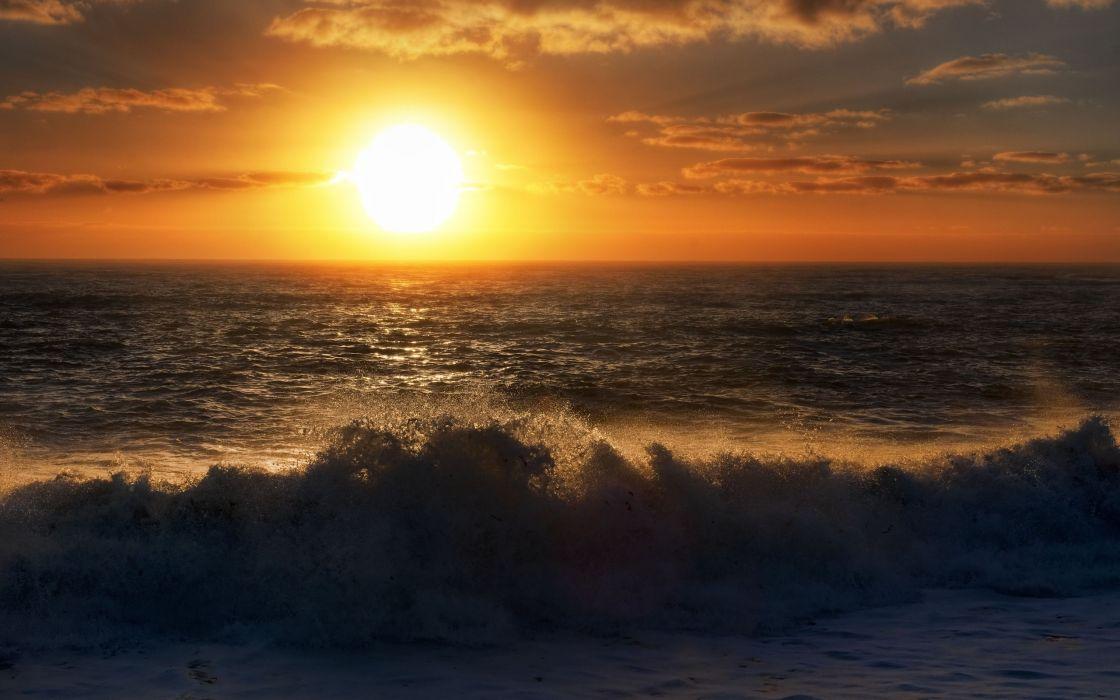 Sunset ocean landscapes nature seas waves wallpaper