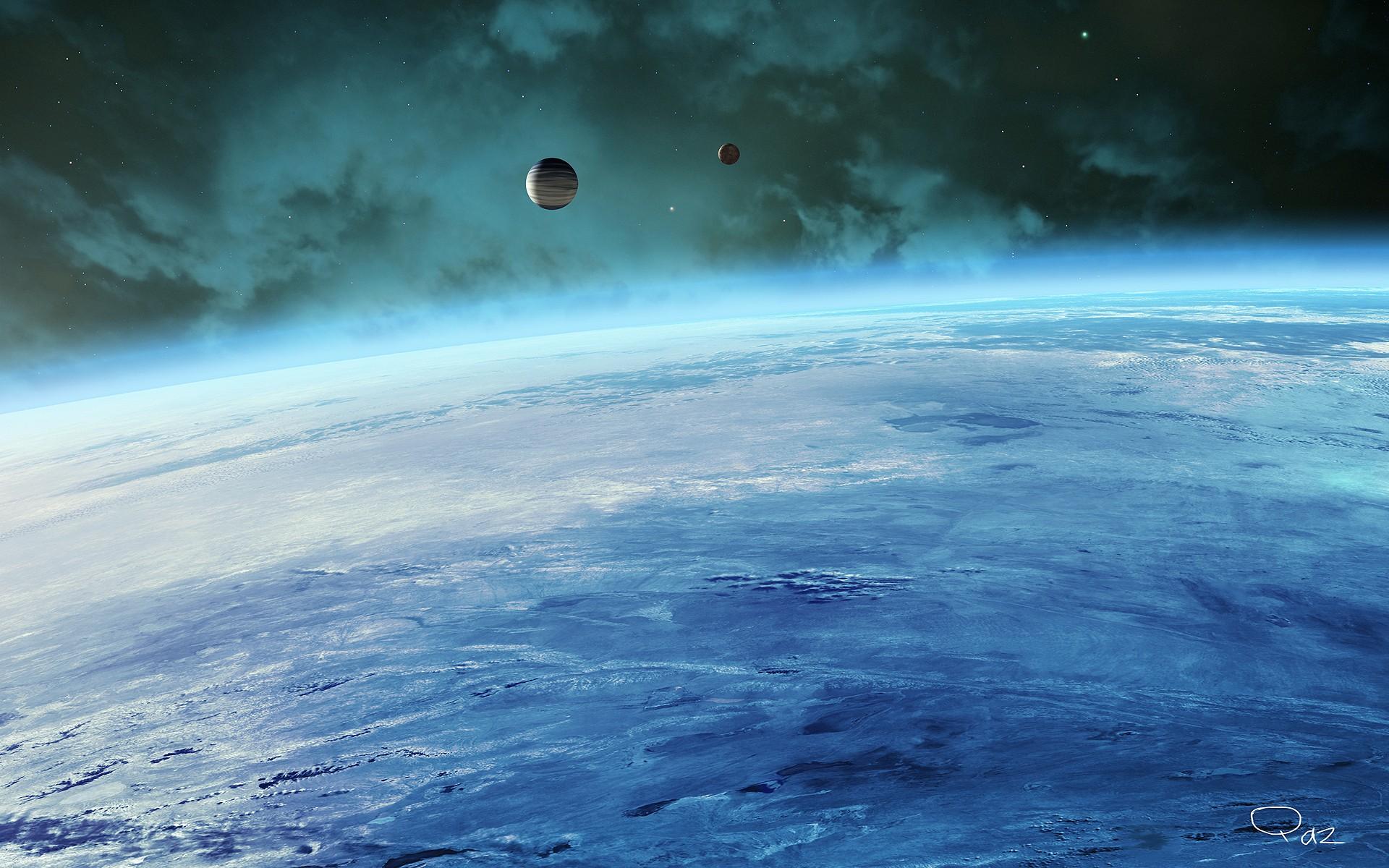 Обои Планета и спутник картинки на рабочий стол на тему Космос - скачать  № 43015 бесплатно