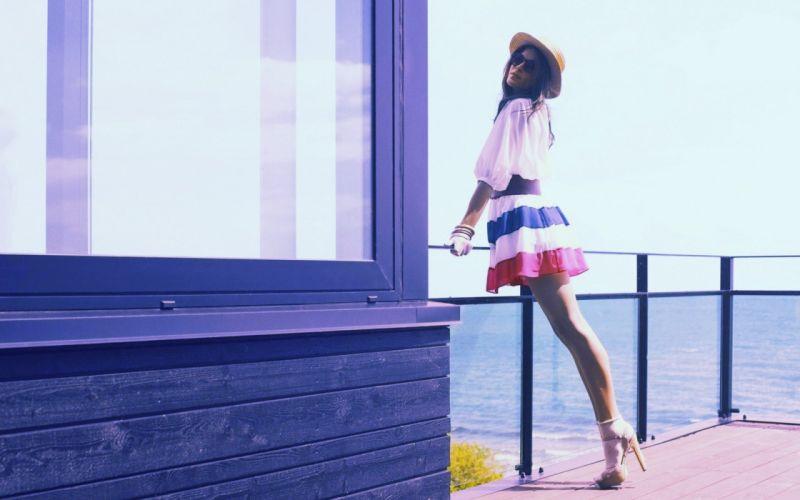 Legs women multicolor skirts wallpaper