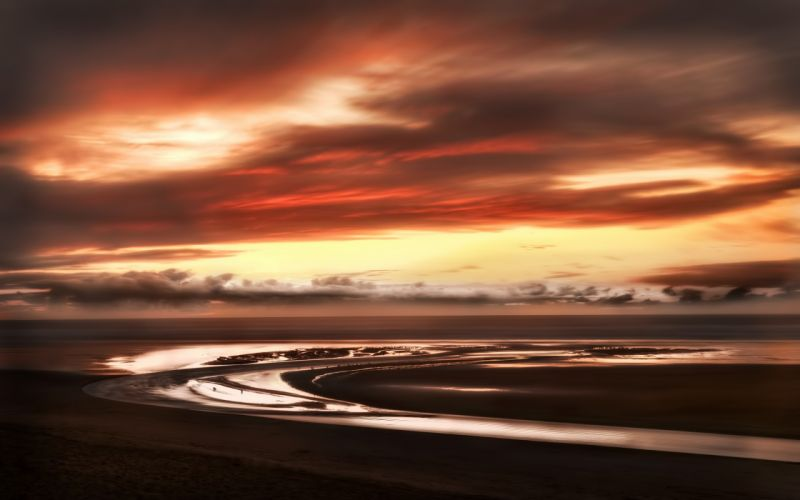 Water sunset clouds landscapes nature wallpaper