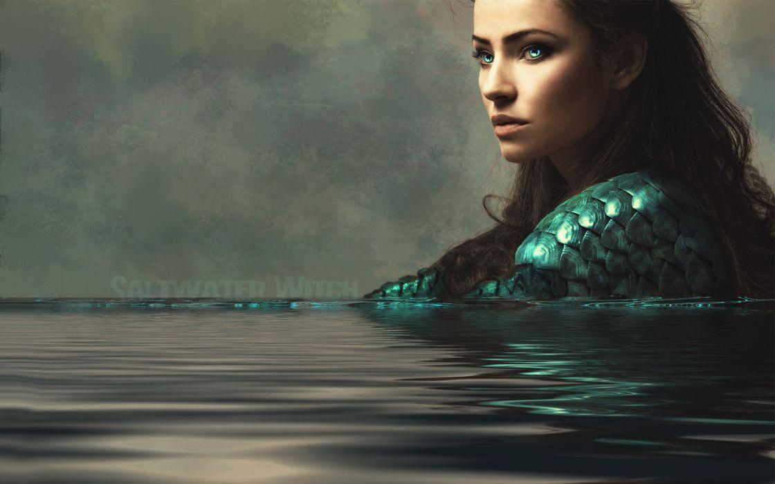 Women water eyes blue eyes lips fantasy art wallpaper