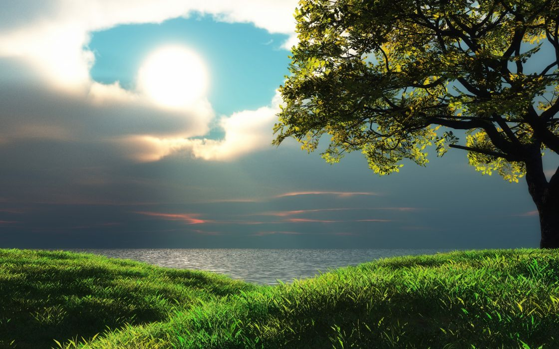 Clouds landscapes trees sunlight wallpaper