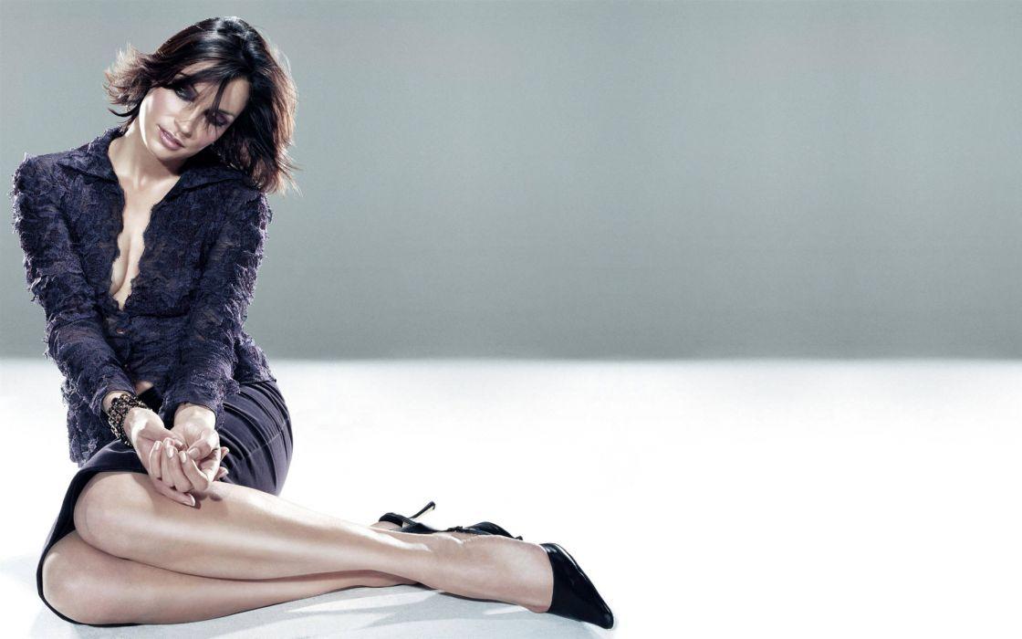 Brunettes women cleavage high heels famke janssen wallpaper