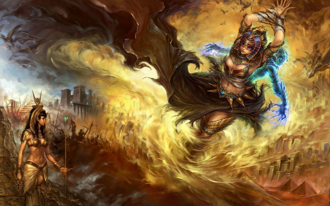 Egypt Warrior Illustration Anubis Pyramid Fantasy Art: Egypt Fantasy Art Artwork Forsaken World Anime Girls