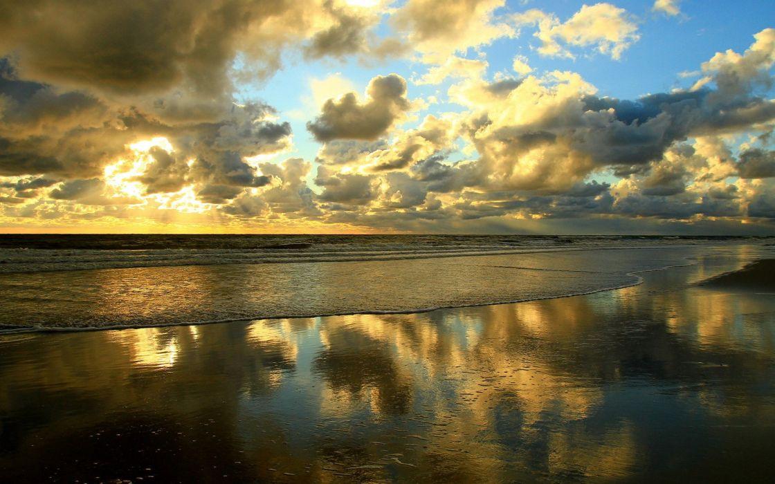 Clouds landscapes nature beach seas shore wallpaper