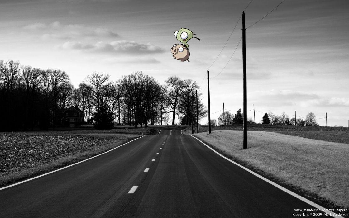 Trees invader zim roads pigs gir selective coloring wallpaper