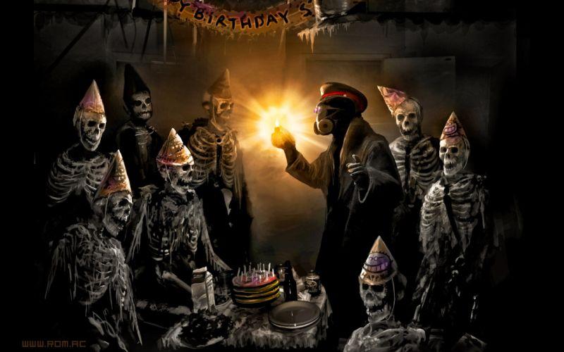 Gas masks skeletons masks romantically apocalyptic happy birthday vitaly s alexius zee captein wallpaper