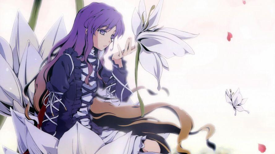 Brunettes video games touhou dress flowers long hair purple hair sitting black dress purple eyes flower petals hijiri byakuren bicolored hair wallpaper
